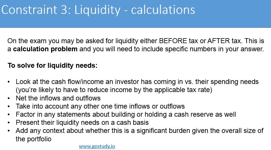 IPS Constraint - Liquidity CFA L3