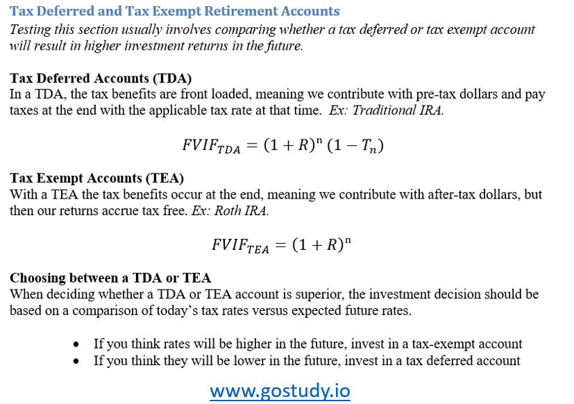 TDA vs. TEA Tax - CFA Exam